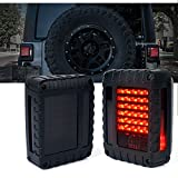 Xprite Smoked Lens Red LED Tail Lights For Jeep Wrangler JK JKU 2007 - 2018, Plug and Play, w/ Turn Signal & Back Up