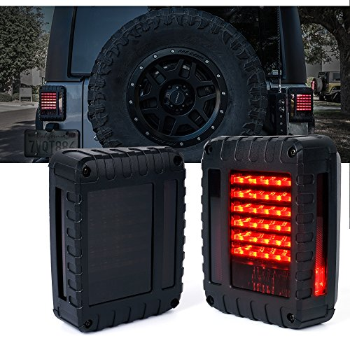 Xprite Smoke Lens Red LED Tail Lights For Jeep Wrangler JK JKU 2007 - 2018, Plug and Play, w/ Turn Signal & Back Up