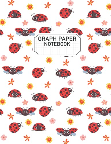 Ladybug Graph Paper: Ladybug Graph Paper Notebook To Write Notes, 4x4 Quad Rule - 8.5' x 11' Inches - 100 Pages