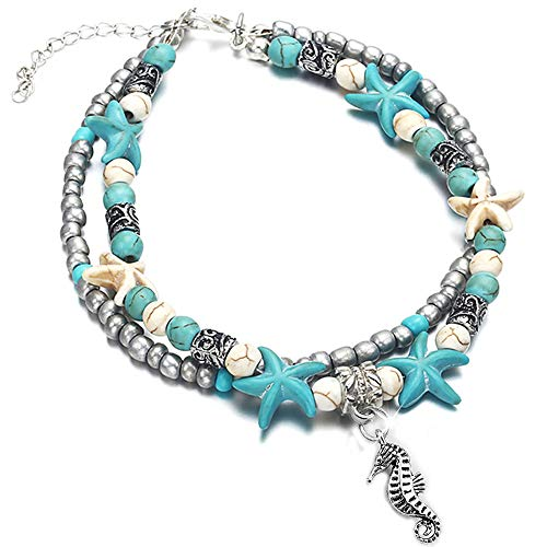 YooAi Multilayer Boho Starfish Turtle Anklet Beads Sea Bracelet Foot Jewelry for Women Seah