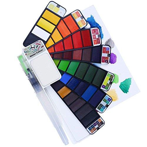 WLOT 42 Colores Surtidos, Conjunto de Pinturas de Acuarela, Incluye Pincel Artístico de Acuarela, Pigmento Portátil de Acuarela, Estudiantes de Escuela Infantil, Artista, Principiante