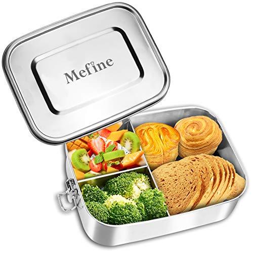 Mefine Edelstahl Brotdose, 1400ml Lunchbox Edelstahl Auslaufsicher Brotbüchse Jausenbox mit 3 Trennwand, Plastikfreie Lunchbox Bento Box für Teenies und Erwachsen