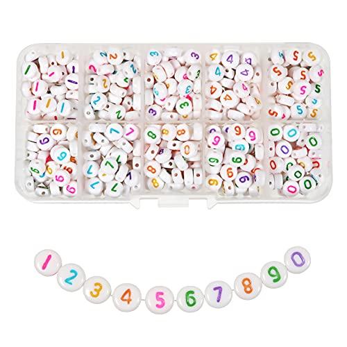 TOAOB 500 Piezas 4x7 mm Blanco Redondos Acrílico Cuentas de Números con Números de 0 a 9 de Multicolor para Hacer Joyas Pulseras