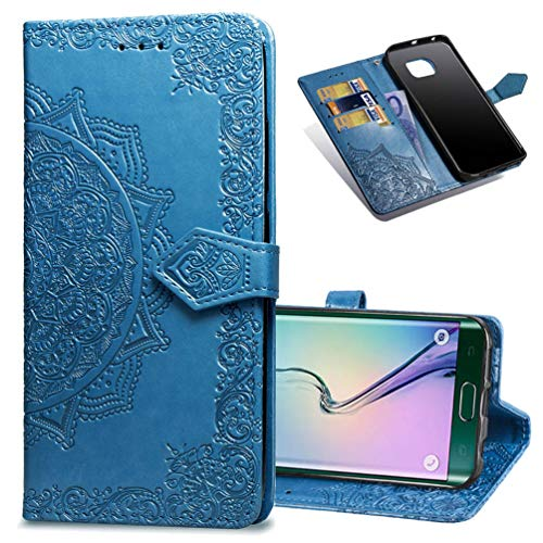 MRSTER Cover Compatibile con Samsung Galaxy S6 Edge, Flip Case Premium Protettiva Portafoglio PU Pelle Custodia per Samsung Galaxy S6 Edge. SD Mandala Blue