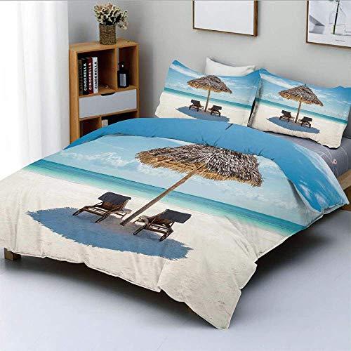 Juego de funda nórdica, tumbonas de madera con vistas al océano oriental bajo una sombrilla de paja en Zanzíbar Juego de cama decorativo de 3 piezas con 2 fundas de almohada, crema turquesa, el mejor