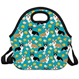 Women Men Kids Tacos Cute Corgi Dogs Neoprene Lunch Tote Bag Insulated Lunch Box with Shoulder Strap Leak-Proof Lunch Organizer for Picnic/Office/Beach/School/Work