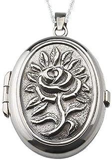 Alylosilver Collana con Ciondolo Medaglione Portafoto in Argento Sterling per Donna Ovale con Una Rosa in Rilievo. Include...