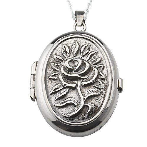 Alylosilver Collana con Ciondolo Medaglione Portafoto in Argento Sterling per Donna Ovale con Una Rosa in Rilievo. Include Catena da 45 cm e Scatola Regalo