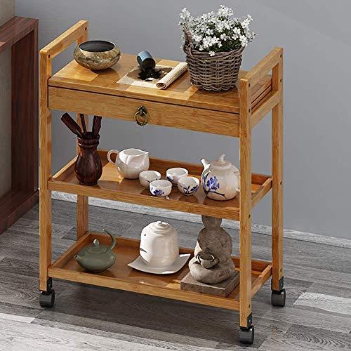 MFZJ Bar Serving Cart Wheels Handle, Rolling Bamboo Kitchen Trolley Island Cart, 3 Tier Bar Cart Wood Drawers Home Bedroom