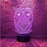 Luz Nocturna Lindo Búho 3D Led Animal Night 7 Colores Lámpara De Holograma Usb Mesa De Escritorio...