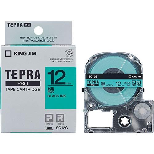 テプラ PRO用テープカートリッジ カラーラベル パステル 緑 SC12G [黒文字 12mm×8m]