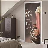 3D Porte Stickers Muraux Cinéma Qualité PVC Auto-adhésif Imperméable Amovible Art Stickers Pour la Maison Décoration Murale 77x200cm