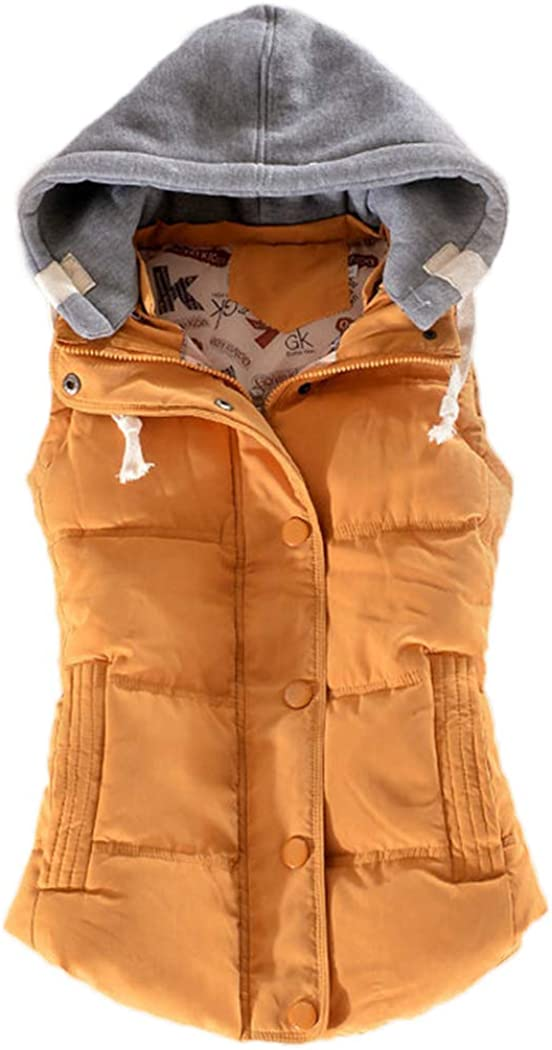 Women's Warm Padded Vest Jacket Slim Sleeveless Quilted Hooded Winter Vest Coat with Pocket