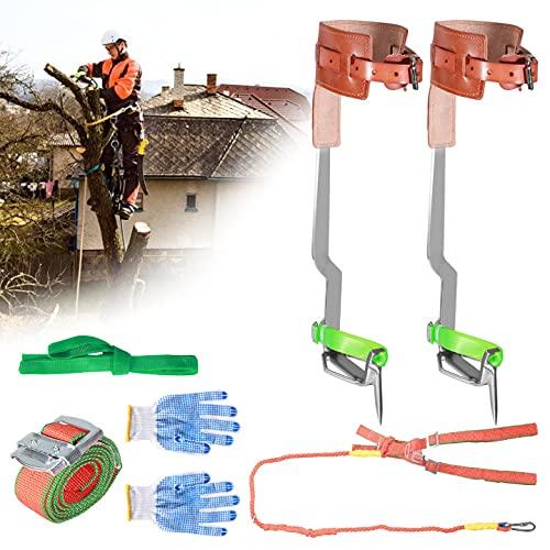 TTLIFE Juego de Clavos para trepar árboles con Correa de Seguridad, arnés de Escalada ensanchado, diseño endurecido y Engrosado, Dos Engranajes, cinturón de Seguridad múltiple