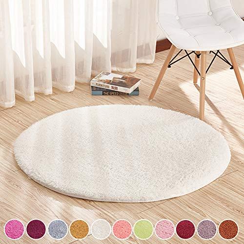 SODKK Teppich Wohnzimmer Weiß 90cm Rund Rund Teppich Hochflor, Flauschig Weiche Antistatisch für Schlafzimmer, Esszimmer, Flur