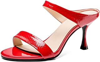 "Sandals Kitten Heel Slipper Slide Sandals for Women Stilettos 7.5cm/2.95"" Heel Double Straps Genuine Leather Open Toe LIULICUICAN (Color : Red, Size : 37 EU)"