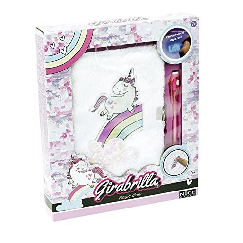 Nice Group - Girabrilla Diario Segreto Unicorno, magic diary peloso con cavallo riflettente, nuvola di paillettes reversibile, penna e chiusura a lucchetto