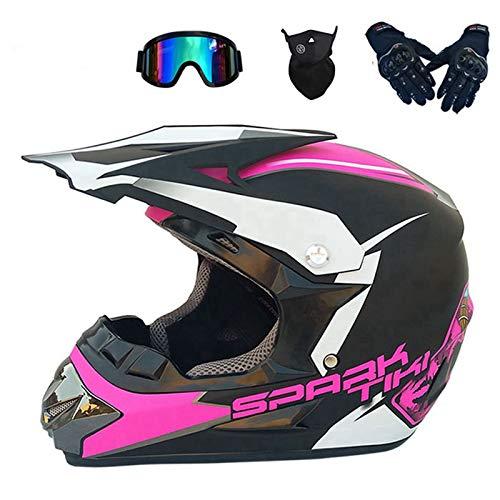 BDUCK Casco de motocross con gafas/guantes/máscara/casco de bicicleta de cara completa para ATV Downhill protección de seguridad, 4 estilos disponibles (A, S)