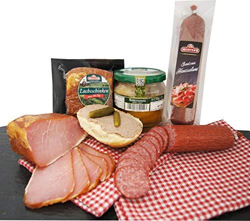 Wurstpaket Oberlausitz | Edel Salami geräucherter Schinken am Stück | Mettwurst im Glas | verfügbar als Geschenk (Bauernmettwurst)