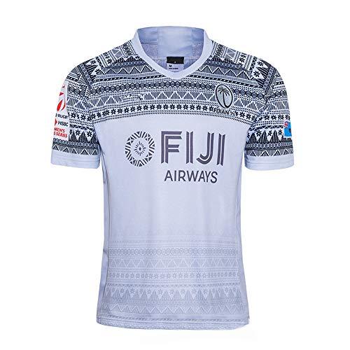 KKSY Rugby Jersey 2020 Fidschi Fiji Sevens Rugby-Trikot Südafrika zu Hause/unterwegs für Männer Kurzarm-Freizeit-T-Shirt-Trainingsanzüge S-5XL,White,M/175-180CM