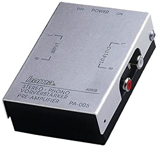 Hama PA 005 Stereo Phono Preamplifier (Suitable for Turntables, Audio Consoles or PC Sound Cards, RIAA Equalisation) Silver
