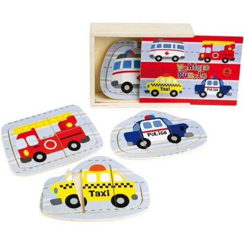 WDK PARTNER - A1202447 - Jouets d'éveil - Coffret 4 puzzles véhicules