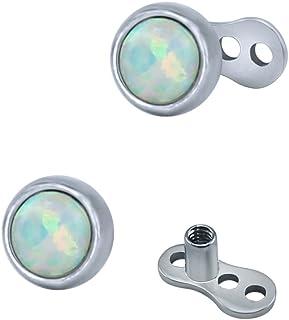 ZeSen Jewelry Top 2pcs 14g Opal Dermal Anchor e Base chirurgico gioielli in acciaio internamente filettato Microdermals corpo