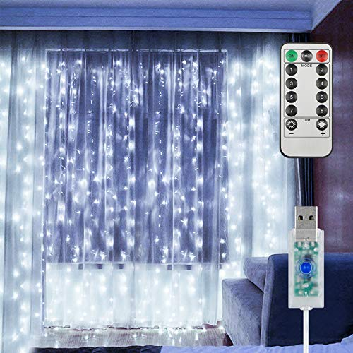 EEEKit Lichtervorhang 3x3m 300 LED Lichter Vorhang Deko 8 Beleuchtungsmodi USB Fenster Leuchten mit Fernbedienung für Home Schlafzimmer Party Innen Außendekor(Weiß)