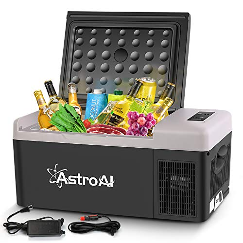 AstroAI Portable Freezer 12 Volt Car Refrigerator 16 Quart Fridge for Car, RV, Van, Vehicle, Boat, Portable Freezer 15L (-4℉~68℉) for Camping, Travel, Fishing Outdoor — 12/24V DC and 100/240V AC