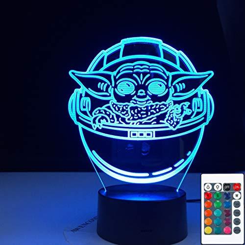 Yoda en su carrera Niños Acrílico 3D LED Luz de noche Lámpara de mesa Mesita de noche Decoración Regalo de niños