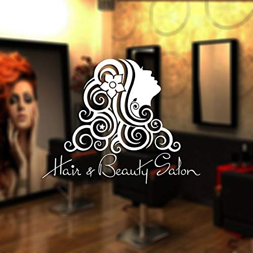 ASFGA Schönheitssalon Aufkleber Schönheitssalon Wandaufkleber Friseur Styling Design Vinyl Fenster Aufkleber Dekoration Wand Friseur Glas Aufkleber 70x88cm