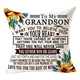 to My Grandson Sunflower You're Capable of Achieving Anything You Put Mind to Quote Grandson Gift from Grandma Cotton Linen Square Throw Pillow Case Decorative Cushion Cover Pillowcase Sofa 18'x 18'