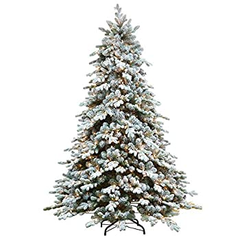 AMERIQUE 7  Eight-Function Multicolored and Warm Pre-Lit Premium Artificial Flocked Snowy Christmas Tree with Metal Stand Hinged