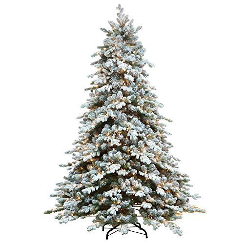 AMERIQUE 7' Eight-Function Multicolored and Warm Pre-Lit Premium Artificial Flocked Snowy Christmas Tree with Metal Stand, Hinged