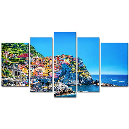 5 Pieces Modern Canvas Painting Wall Art The Picture For Home Decoration Cityscape Traditional Port Mediterranean Sea Cinque Terre Italy Coast Landscape Print On Canvas Giclee Artwork For Wall Decor