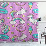 NR Tenda da Doccia con Ganci,Fumetto Comic Unicorno Rosa Ciambelle Coriandoli Arcobaleno,Impermeabile Poliestere Tende per Vasca da Bagno 180x180cm