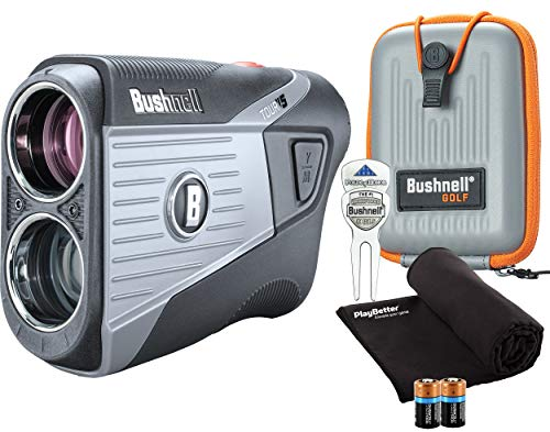 Bushnell Tour V5 (Standard) Golf Laser Rangefinder Patriot Pack PlayBetter Bundle | +Carrying Case, Divot Tool, PlayBetter Microfiber Towel and Two Batteries | Pinseeker Jolt, 6X Mag | 201901P