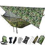 73HA73 Amaca da Campeggio e Parasole Set Altalena con Zanzariera e Tenda per Tenda da Campeggio, Paracadute, Paracadute Portatile per I Viaggi,Camo