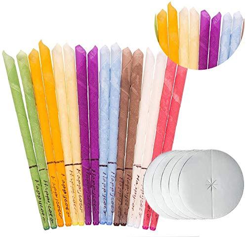 Ealicere 16 Stück Ohrkerzen, Ohrenkerzen Natürliche Bienenwachs Kerzen Ohrenschmalzentfernung mit 6 Schutzscheiben, Entspannen und Reinigen (8 Farben)