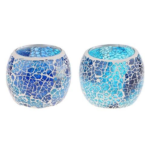 Bingpong 2 Stück Retro Blue Mosaik Glas Kerzenhalter Kerzenständer Teelichthalter Schüssel Kerzenbecher Home Decor Requisiten