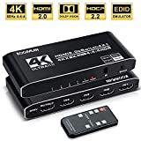 4k HDR HDMI Switch, Koopman 4 Ports HDMI 2.0 Switcher Selector with IR Remote Control, Supports HDCP 2.2 4K@60Hz UltraHD...