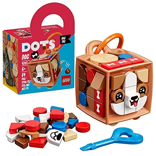 LEGO 41927 DOTS Taschenanhänger Hund Bastelset für Kinder, Schlüsselanhänger zum Basteln