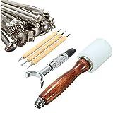 25 unids / set herramienta de martillo de sello de tallado, herramienta de corte de estampado de artesanía de cuero, martillo de sello de tallado de cuero manual, coser, sillín, biselador en relieve,