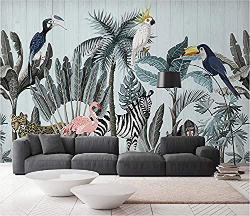 Tapete Dschungel Tapisserie Foto Poster Wand Wand Hintergrund Tier Tropischer Flamingo Zebra Papagei fototapete 3d Tapete effekt Vlies wandbild Schlafzimmer-250cm×170cm