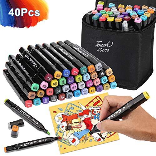 40 Farbige Graffiti Stift Fettige Mark Farben Marker Set zum Zeichnen Graffiti Stiftbreite und Dünne Doppelspitze Spitze, für Erwachsene und Kinder, Studenten Manga Kunstler Sketch Marker Stifte Kit