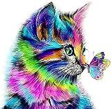 Pintar por numeros Animales Gato - Pintura para Pintar por números con Pinceles y Colores Brillantes - Cuadro de Lienzo con numeros pre Dibujado fácil de Pintar