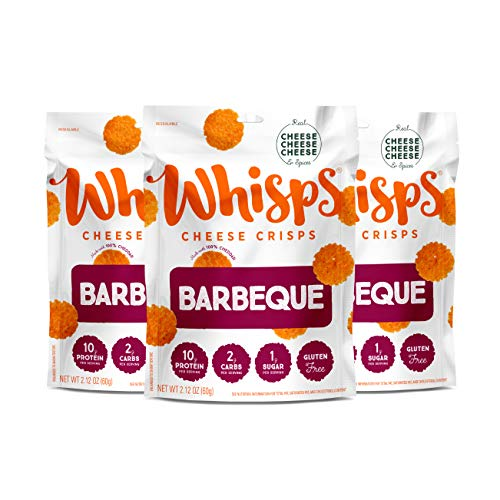 Whisps Bacon BBQ Cheese Crisps | Keto Snack, Gluten Free, Low Carb, High Protein | 2.12oz (3 Pack)