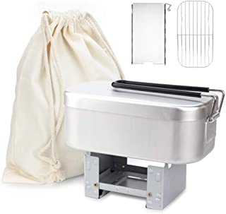 メスティン キャンプ 5点セット アウトドア ハンゴウ バッドアミ ポケットストーブ ウインドスクリーン 収納袋付き アルミ 飯盒 炊飯 防災対策 食品衛生法届出済