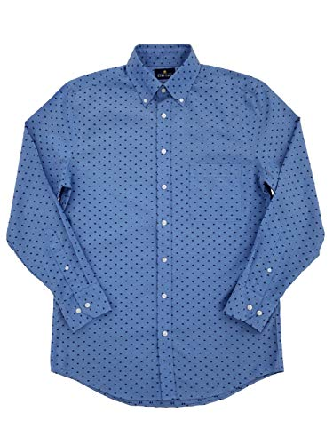 Mens Blue Dobby Executive Pinpoint Oxford Fitted Button-Down Shirt 15/32-33