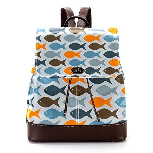 Mochila casual de cuero de la PU para los hombres, bolso de hombro de las mujeres estudiantes mochila para viajes negocios colegio peces totalmente editable eps 8 archivo